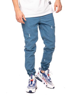 Spodnie Jeans Jogger Patriotic Futura Mini Przecierane Jasnoniebieskie