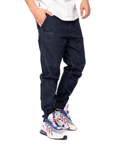 Spodnie Jeans Jogger Slim El Polako Front Classic Ciemnoniebieskie