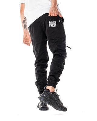 Spodnie Materiałowe Jogger Bojówki Diamante Wear V3 Czarne