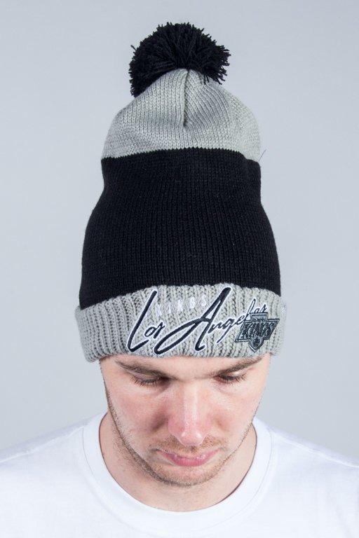 47 BRAND WINTER CAP HUSTLE CUFF KNIT WITH POM POM LOS ANGELES KINGS