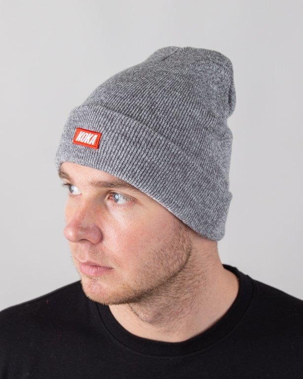 KOKA WINTER CAP SMALL BOXLOGO GREY
