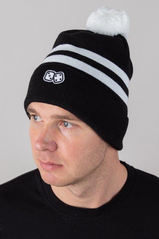 LUCKY DICE WINTER CAP 2 STRIPES BLACK