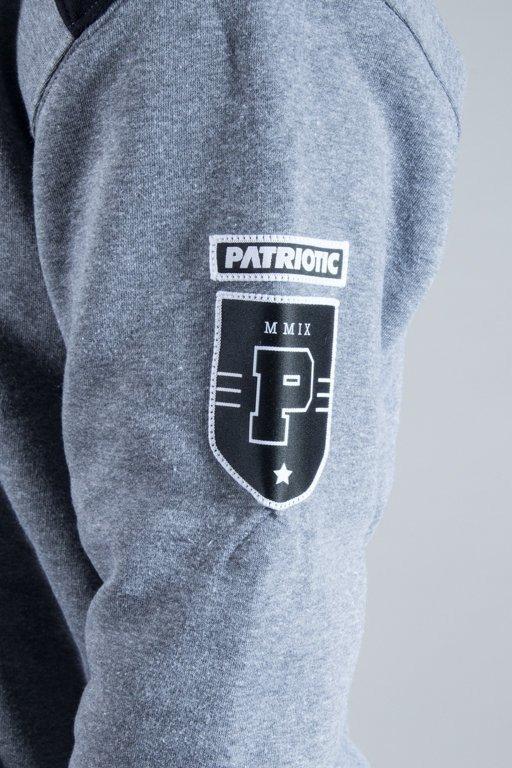 PATRIOTIC HOODIE 10 NECK GREY-BLACK