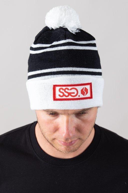 SSG WINTER CAP POMPON NASZYWKA BLACK-WHITE
