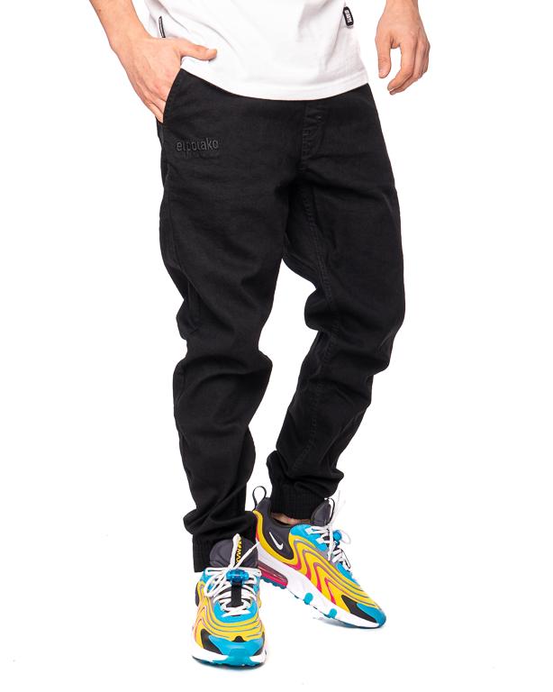 Spodnie Jeans Jogger Slim El Polako Front Classic Czarne