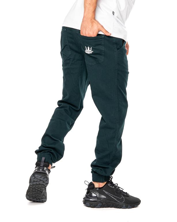 Spodnie Materiałowe Jogger Jigga Wear Crown Zielone / Białe