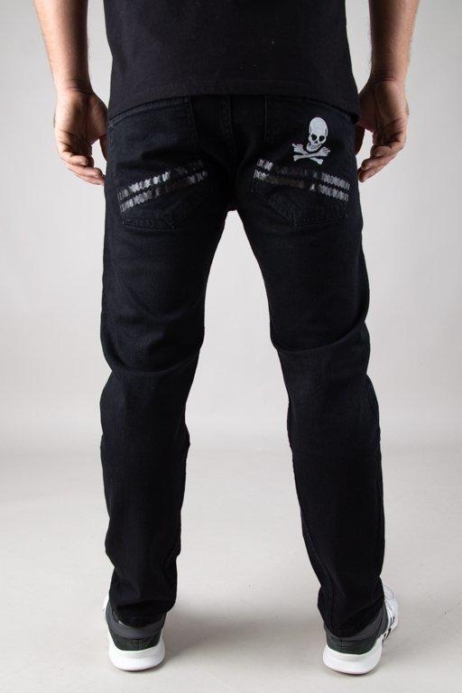 Spodnie Stoprocent Jeansy Slim Regular Skull Black