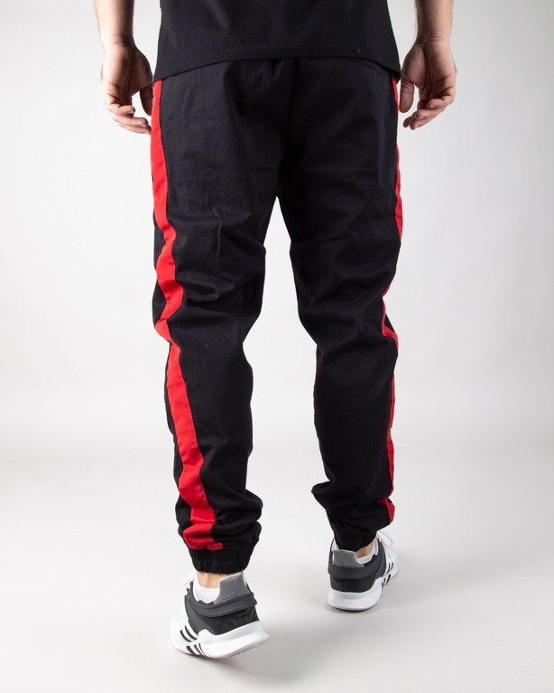 Stoprocent Spodnie Chino Jogger Lampas Black-Red