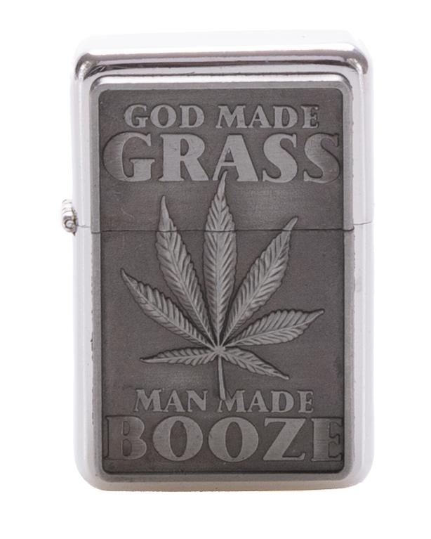 Zapaliczka Metalowa God Made Grass Silver 44